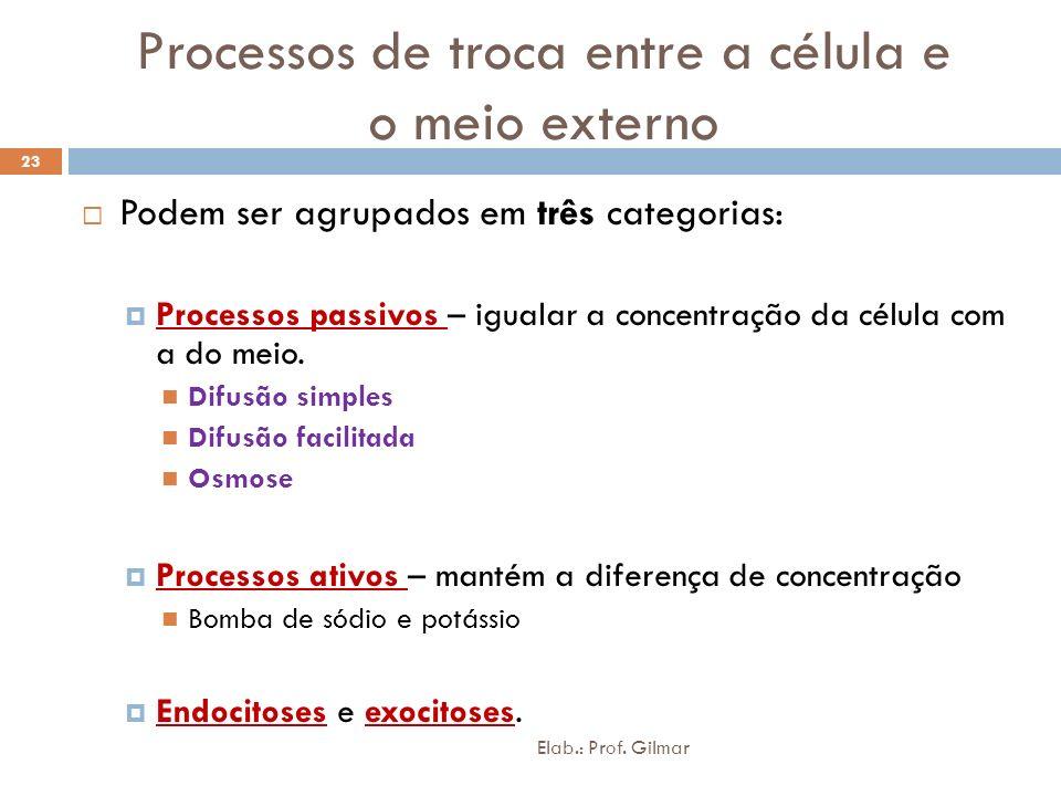 Processos de troca entre a célula e o meio externo