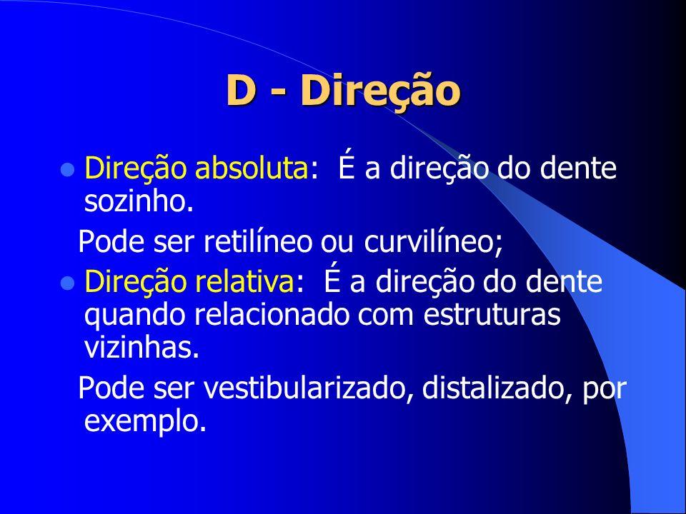 D - Direção Direção absoluta: É a direção do dente sozinho.