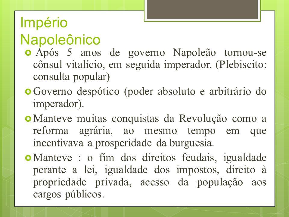 Império Napoleônico Após 5 anos de governo Napoleão tornou-se cônsul vitalício, em seguida imperador. (Plebiscito: consulta popular)