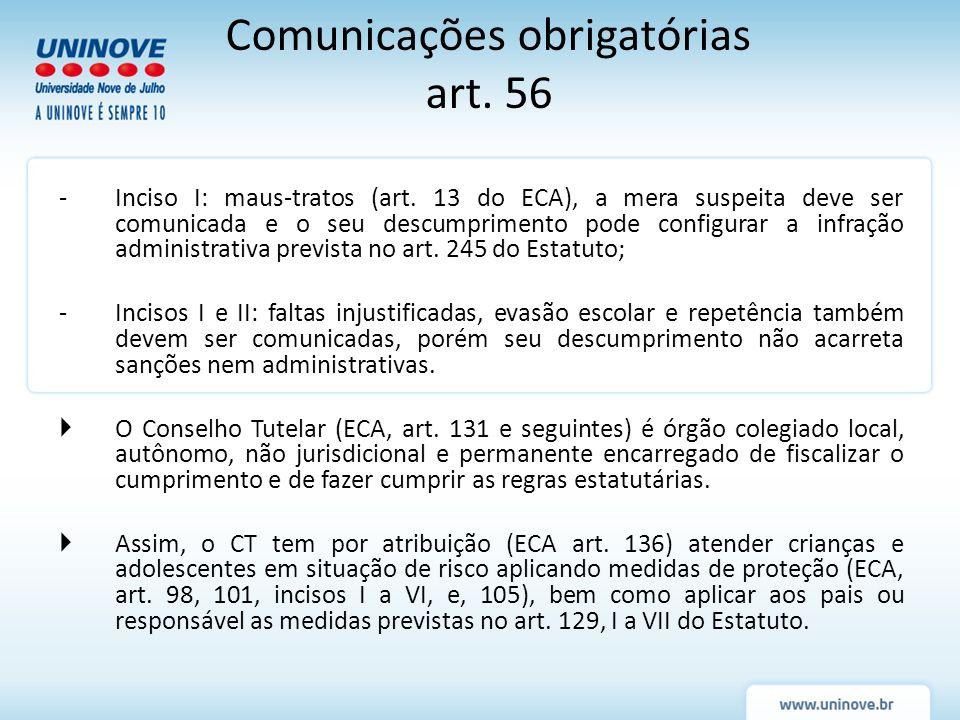 Comunicações obrigatórias art. 56