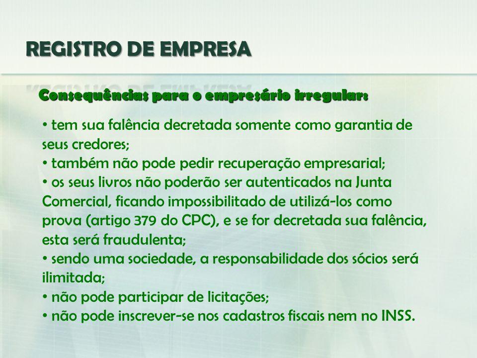 REGISTRO DE EMPRESA Consequências para o empresário irregular: