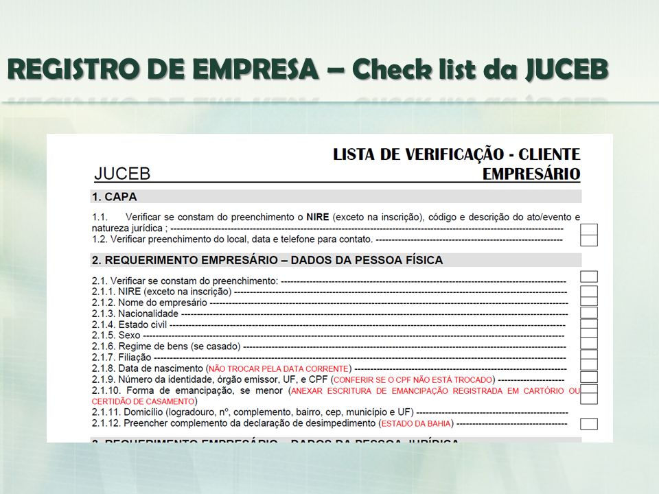 REGISTRO DE EMPRESA – Check list da JUCEB