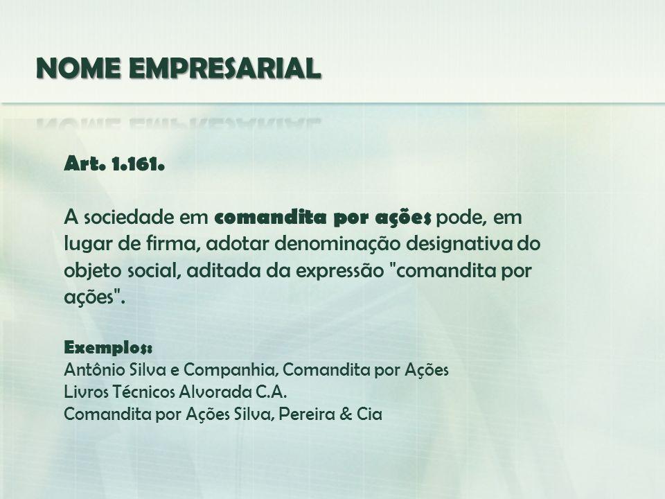 NOME EMPRESARIAL Art. 1.161.