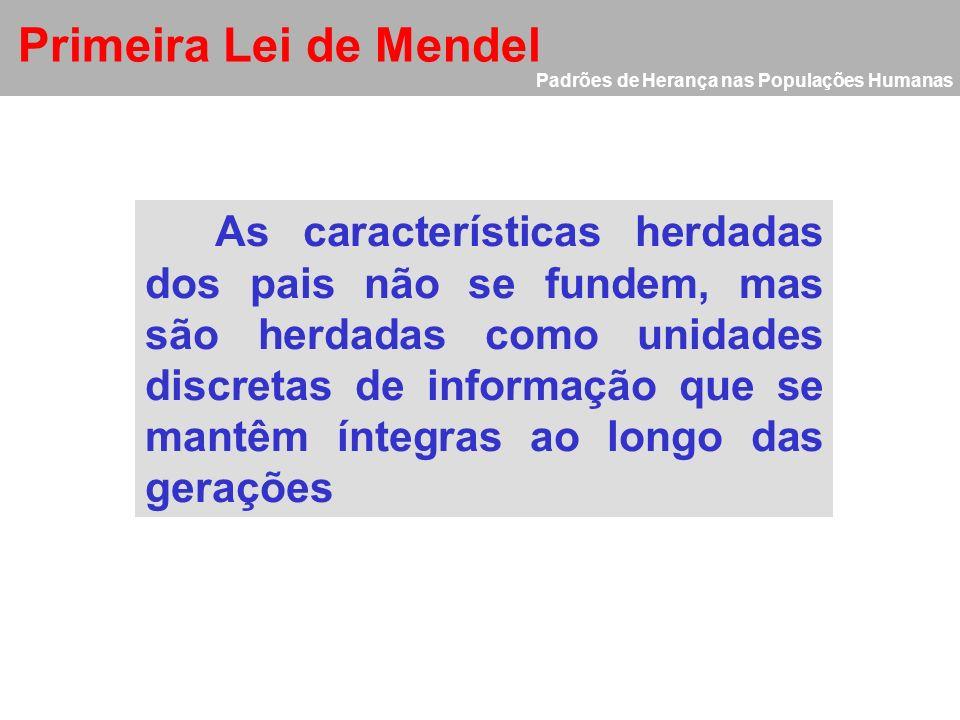 Primeira Lei de Mendel Padrões de Herança nas Populações Humanas.
