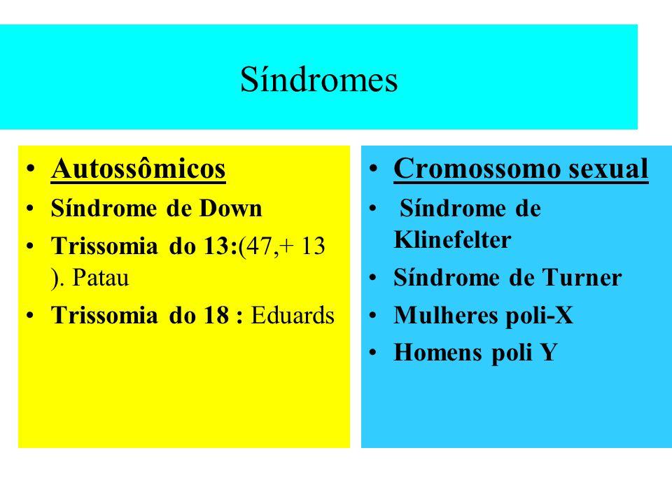 Síndromes Autossômicos Cromossomo sexual Síndrome de Down
