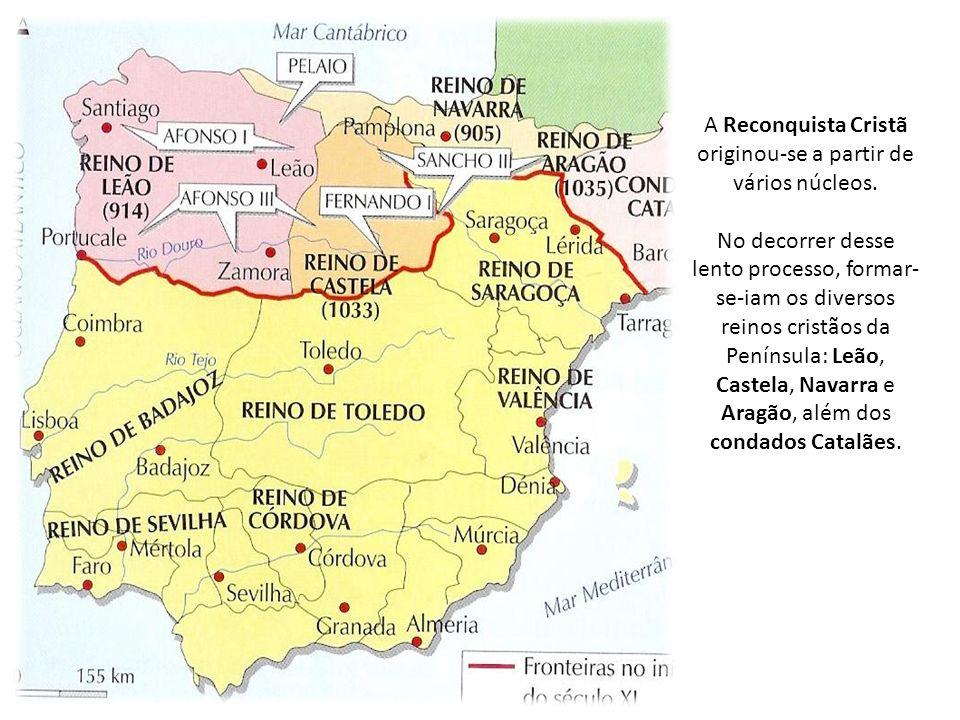 A Reconquista Cristã originou-se a partir de vários núcleos.