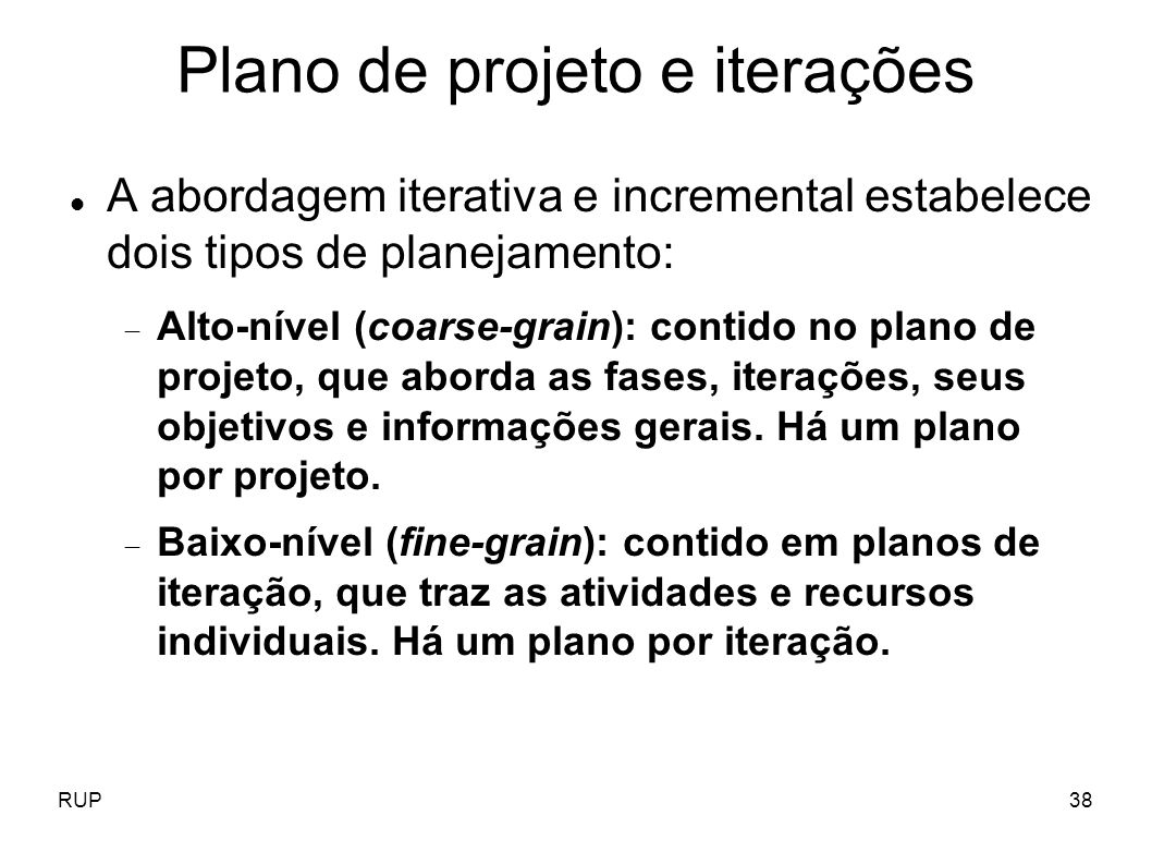 Plano de projeto e iterações