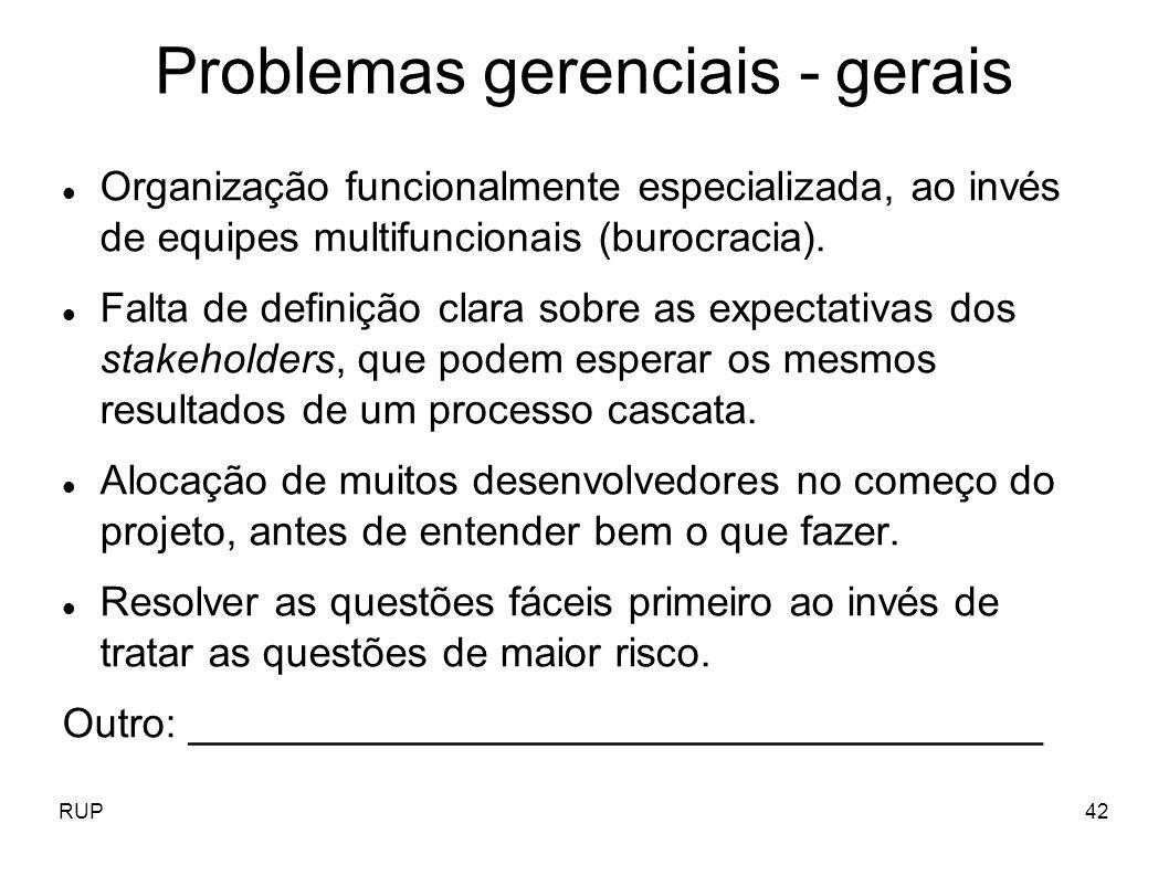 Problemas gerenciais - gerais