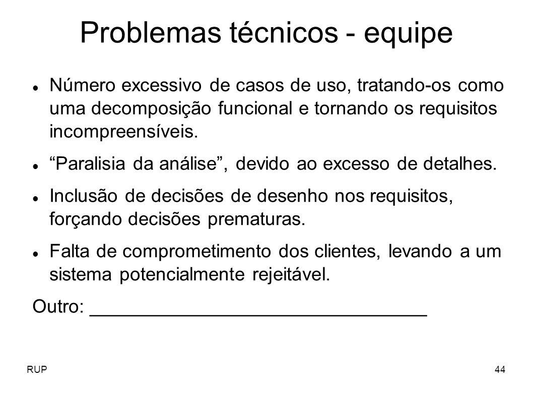 Problemas técnicos - equipe