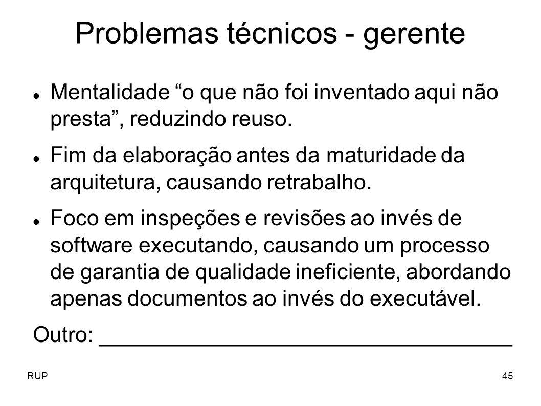 Problemas técnicos - gerente