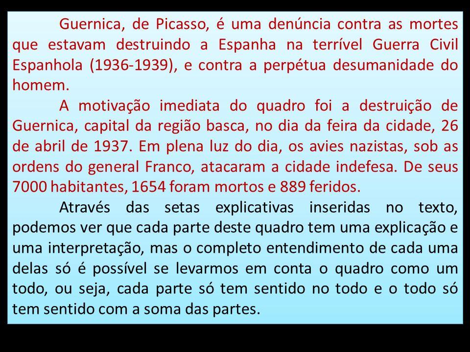 Guernica, de Picasso, é uma denúncia contra as mortes que estavam destruindo a Espanha na terrível Guerra Civil Espanhola (1936-1939), e contra a perpétua desumanidade do homem.