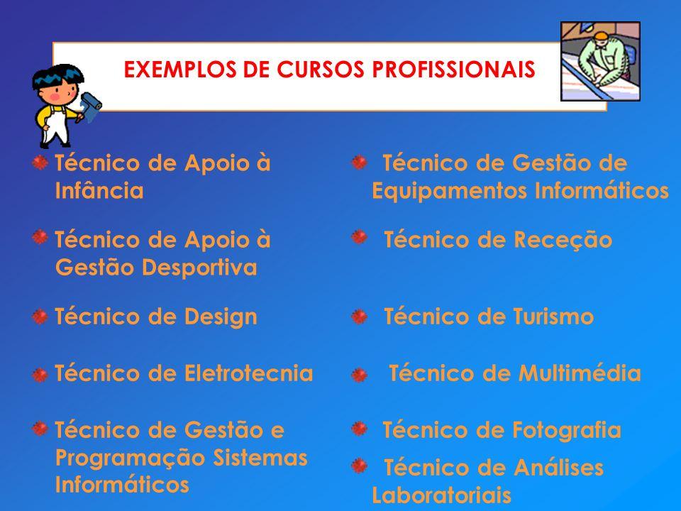 EXEMPLOS DE CURSOS PROFISSIONAIS