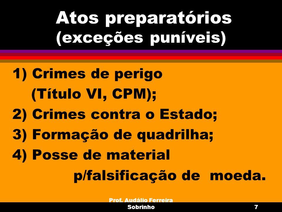 Atos preparatórios (exceções puníveis)