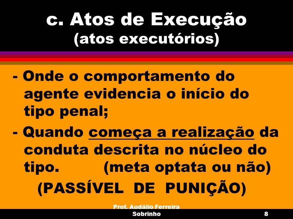 c. Atos de Execução (atos executórios)