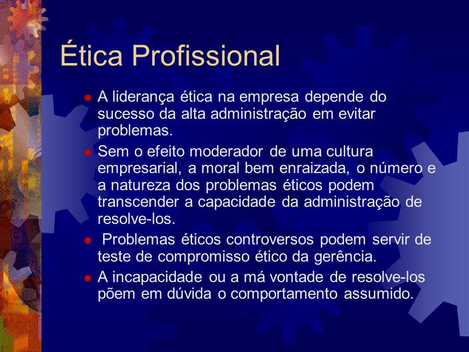 Ética ProfissionalA liderança ética na empresa depende do sucesso da alta administração em evitar problemas.