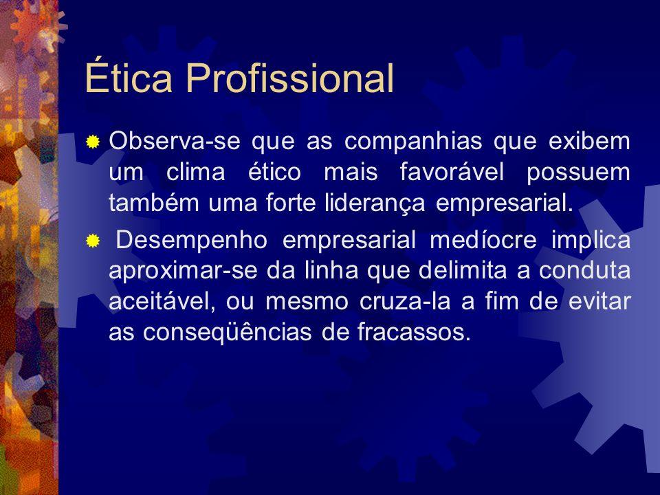 Ética Profissional Observa-se que as companhias que exibem um clima ético mais favorável possuem também uma forte liderança empresarial.