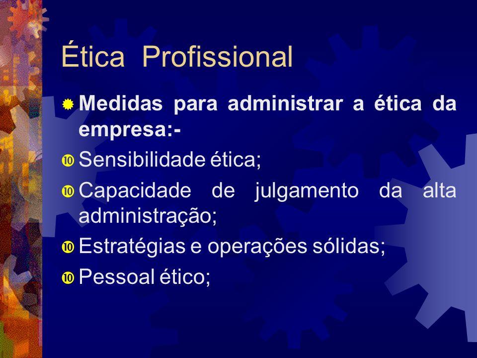 Ética Profissional Medidas para administrar a ética da empresa:-