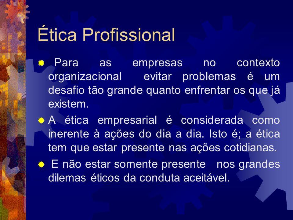 Ética ProfissionalPara as empresas no contexto organizacional evitar problemas é um desafio tão grande quanto enfrentar os que já existem.