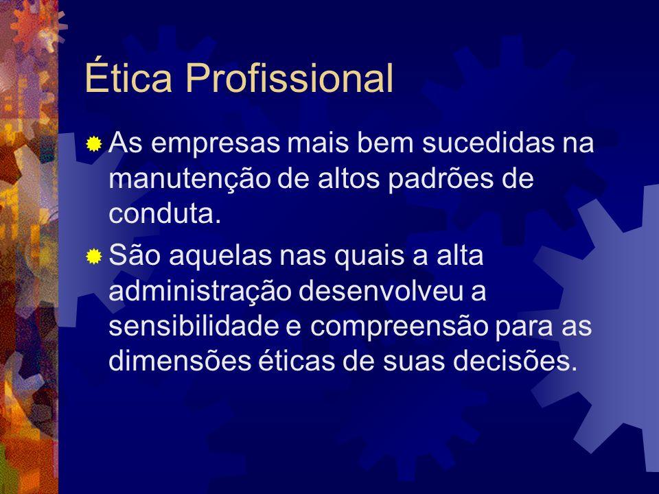 Ética ProfissionalAs empresas mais bem sucedidas na manutenção de altos padrões de conduta.