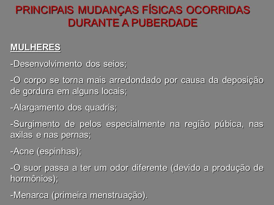 PRINCIPAIS MUDANÇAS FÍSICAS OCORRIDAS DURANTE A PUBERDADE