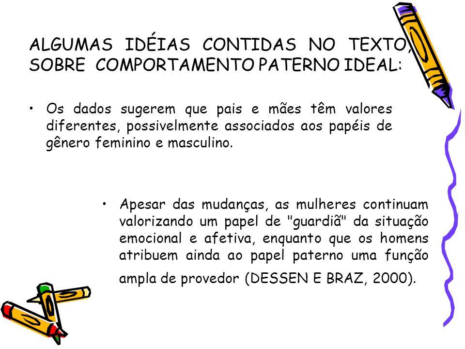 ALGUMAS IDÉIAS CONTIDAS NO TEXTO, SOBRE COMPORTAMENTO PATERNO IDEAL: