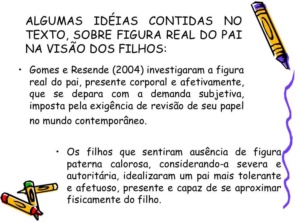 ALGUMAS IDÉIAS CONTIDAS NO TEXTO, SOBRE FIGURA REAL DO PAI NA VISÃO DOS FILHOS: