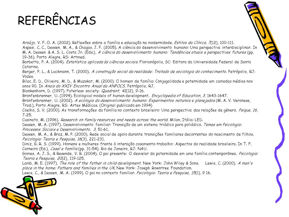 REFERÊNCIAS Araújo, V. F. O. A. (2002). Reflexões sobre a família e educação na modernidade. Estilos da Clínica, 7(12), 100-111.