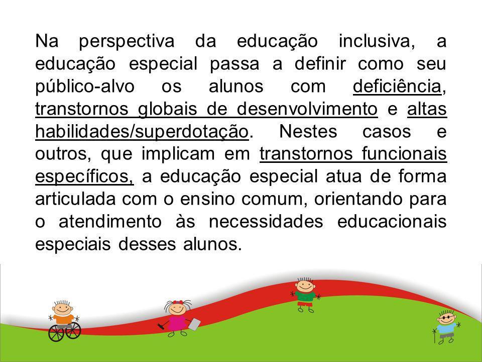 Na perspectiva da educação inclusiva, a educação especial passa a definir como seu público-alvo os alunos com deficiência, transtornos globais de desenvolvimento e altas habilidades/superdotação.