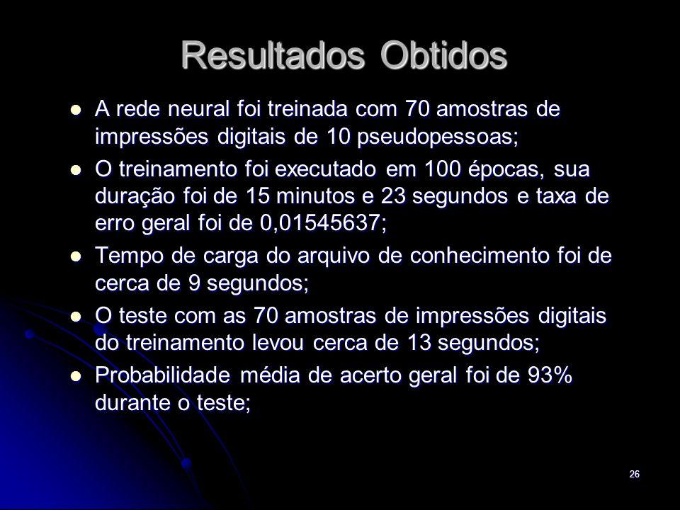Resultados ObtidosA rede neural foi treinada com 70 amostras de impressões digitais de 10 pseudopessoas;