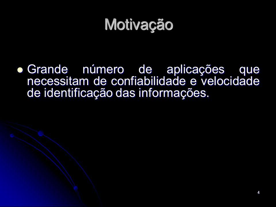 Motivação Grande número de aplicações que necessitam de confiabilidade e velocidade de identificação das informações.