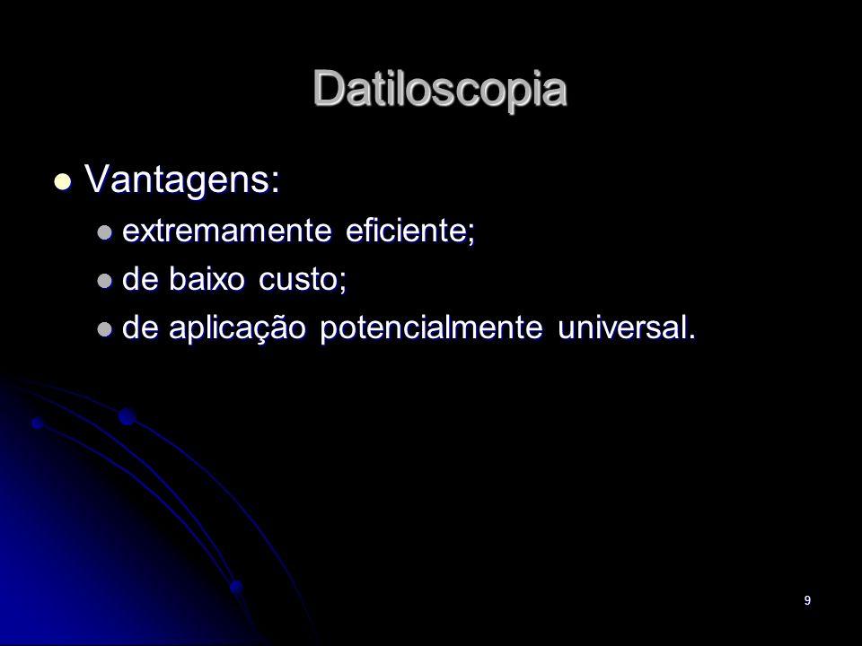 Datiloscopia Vantagens: extremamente eficiente; de baixo custo;