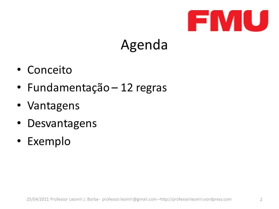 Agenda Conceito Fundamentação – 12 regras Vantagens Desvantagens