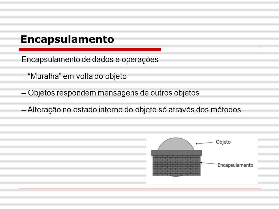 Encapsulamento Encapsulamento de dados e operações