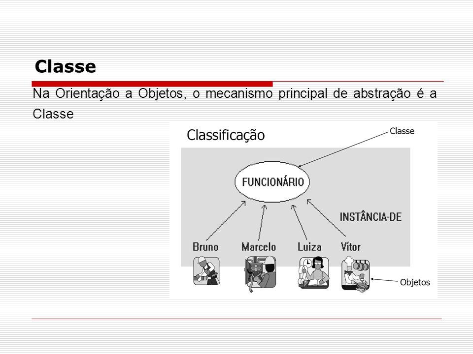 Classe Na Orientação a Objetos, o mecanismo principal de abstração é a Classe