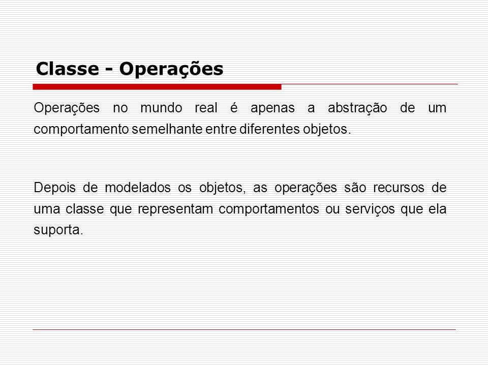 Classe - OperaçõesOperações no mundo real é apenas a abstração de um comportamento semelhante entre diferentes objetos.