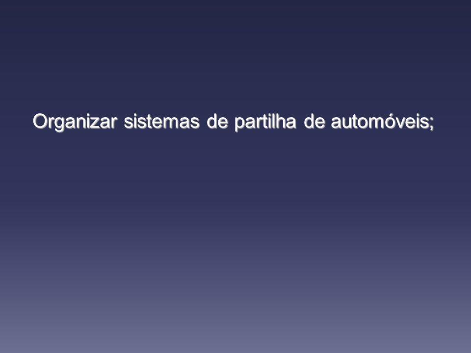 Organizar sistemas de partilha de automóveis;
