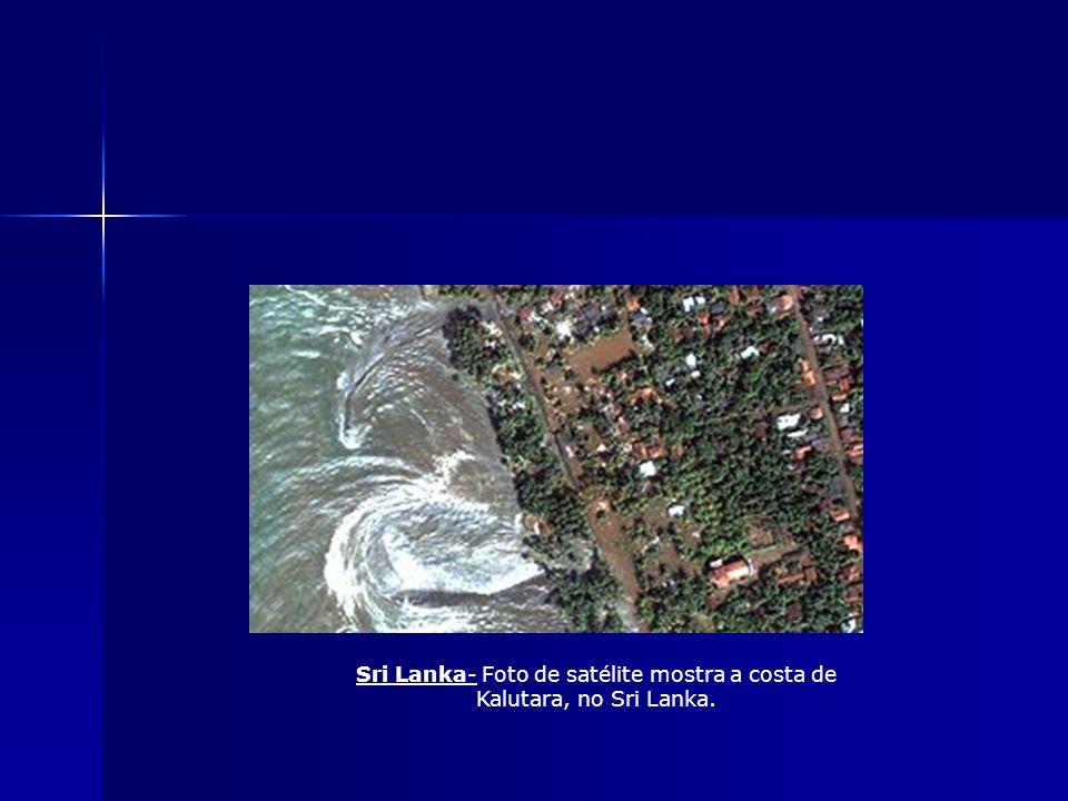 Sri Lanka- Foto de satélite mostra a costa de Kalutara, no Sri Lanka.
