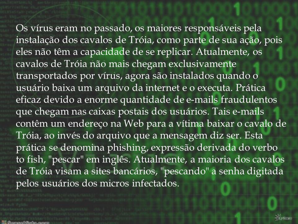 Os vírus eram no passado, os maiores responsáveis pela instalação dos cavalos de Tróia, como parte de sua ação, pois eles não têm a capacidade de se replicar.