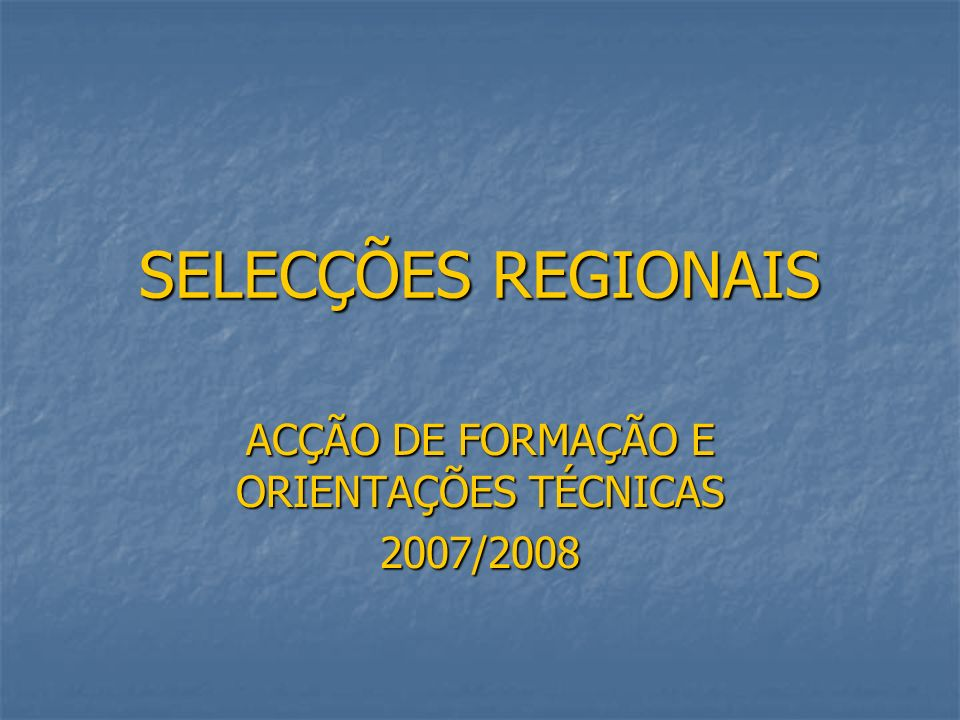 ACÇÃO DE FORMAÇÃO E ORIENTAÇÕES TÉCNICAS 2007/2008