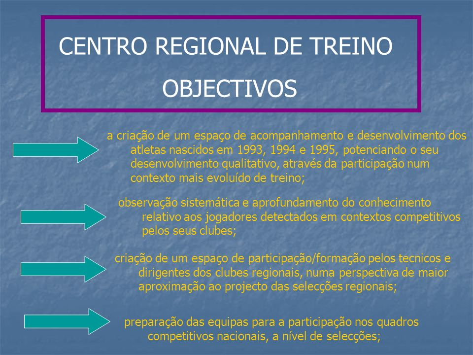 CENTRO REGIONAL DE TREINO OBJECTIVOS