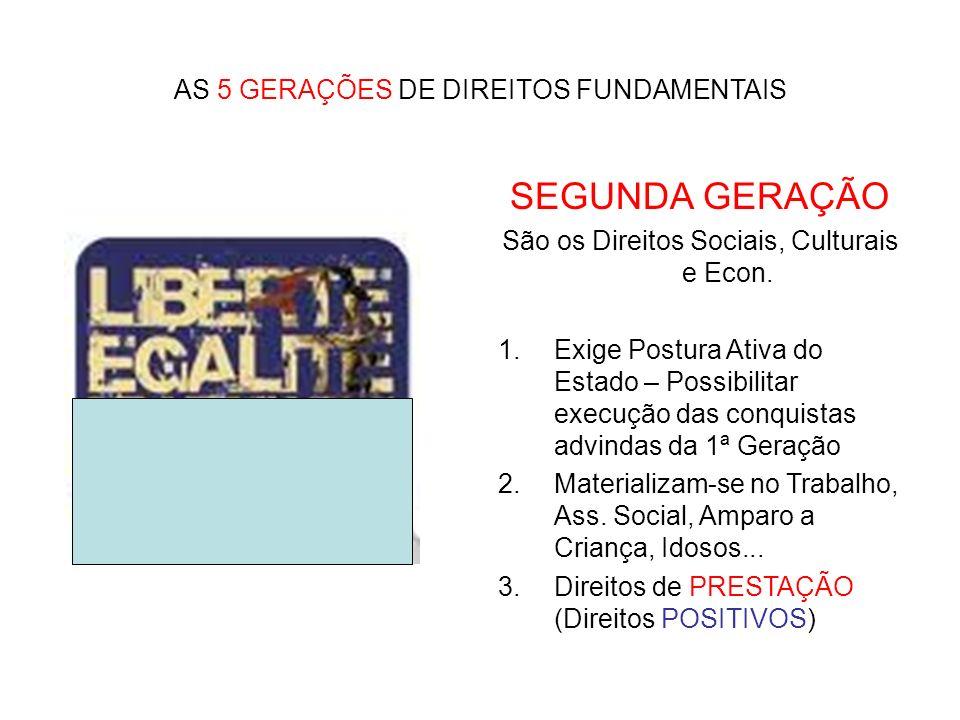 SEGUNDA GERAÇÃO AS 5 GERAÇÕES DE DIREITOS FUNDAMENTAIS