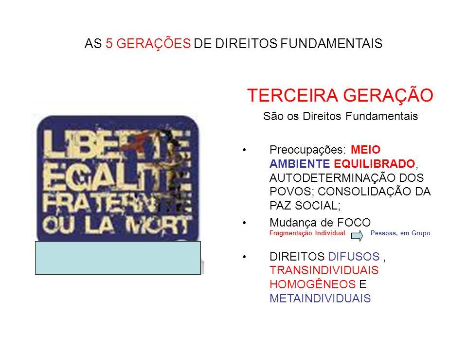 TERCEIRA GERAÇÃO AS 5 GERAÇÕES DE DIREITOS FUNDAMENTAIS