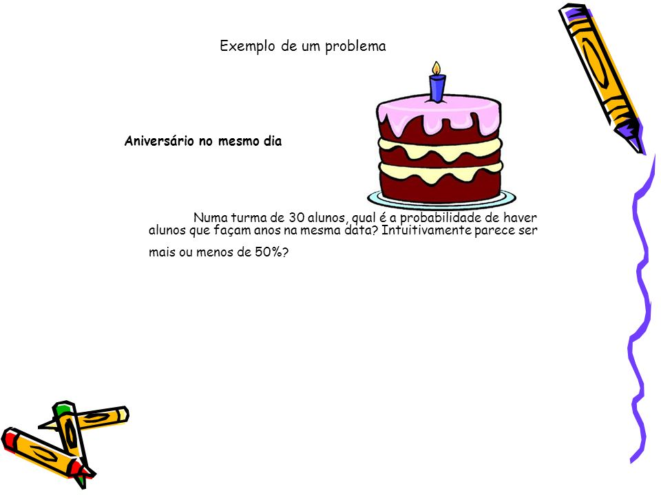 Exemplo de um problema Aniversário no mesmo dia