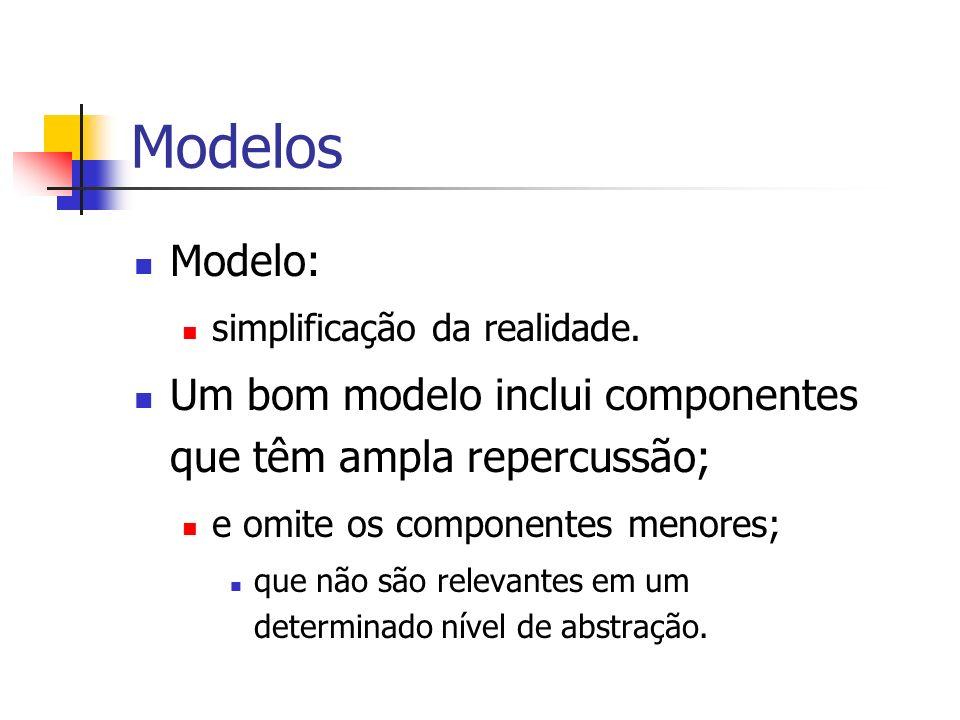 Modelos Modelo: simplificação da realidade. Um bom modelo inclui componentes que têm ampla repercussão;