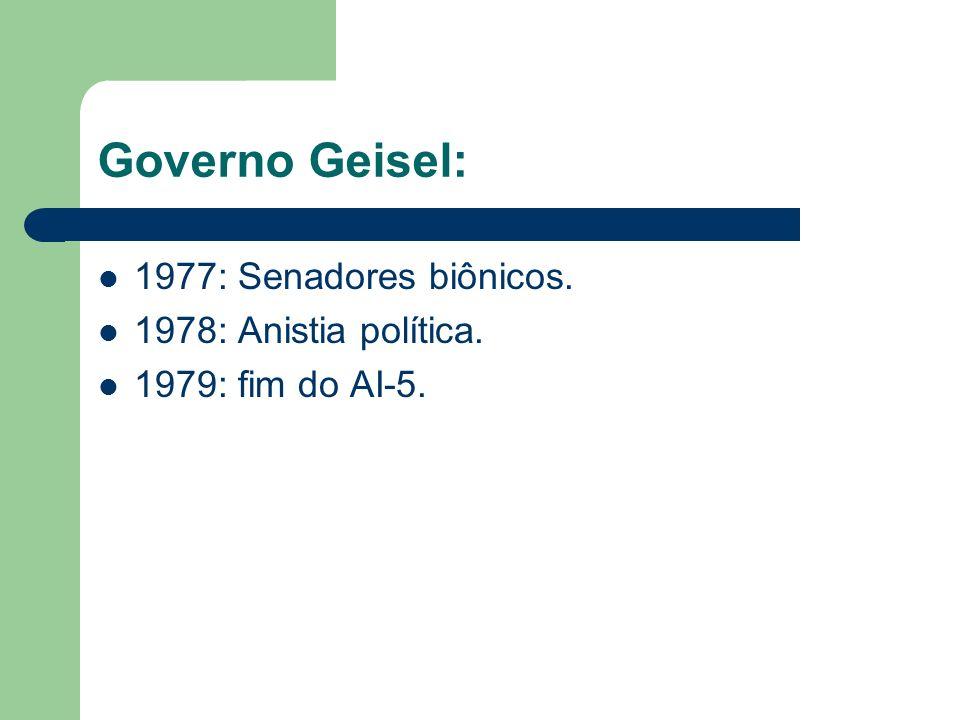 Governo Geisel: 1977: Senadores biônicos. 1978: Anistia política.