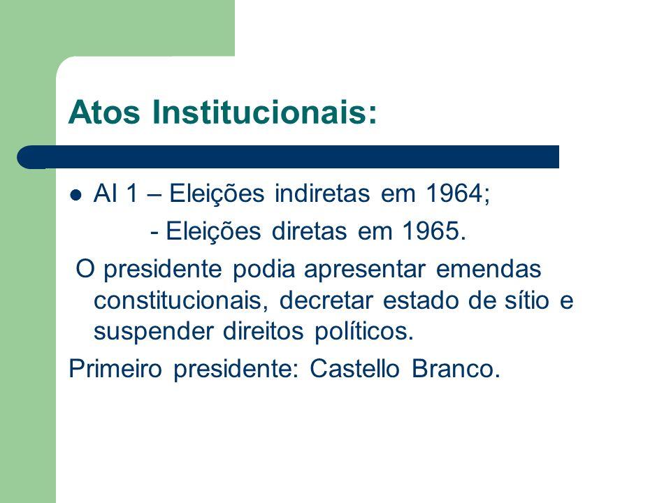 Atos Institucionais: AI 1 – Eleições indiretas em 1964;