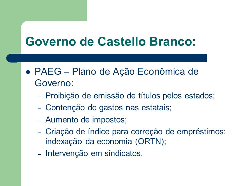 Governo de Castello Branco: