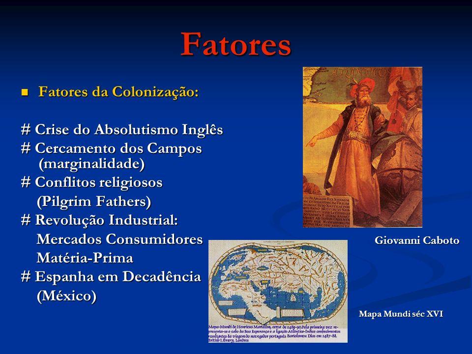 Fatores Fatores da Colonização: # Crise do Absolutismo Inglês