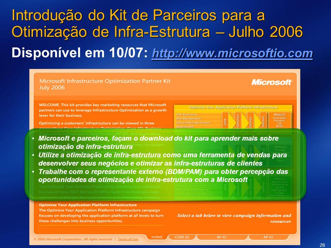 Introdução do Kit de Parceiros para a Otimização de Infra-Estrutura – Julho 2006 Disponível em 10/07: http://www.microsoftio.com