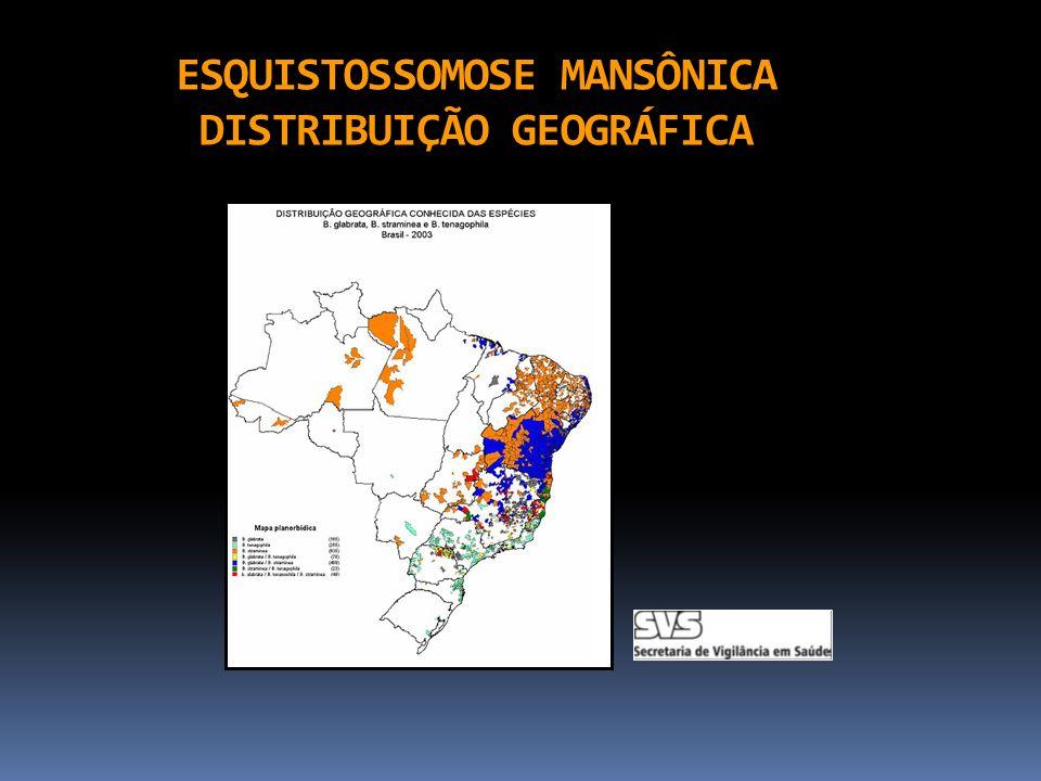 ESQUISTOSSOMOSE MANSÔNICA DISTRIBUIÇÃO GEOGRÁFICA